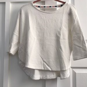Deletta by Anthropologie. White high- low blouse